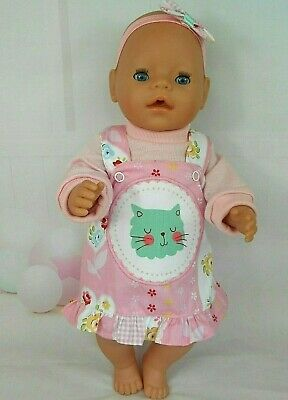 """Dolls clothes for 17"""" Baby Born/CPK Doll~GREEN CAT FLORAL PINAFORE~TOP~HAIR BOW"""