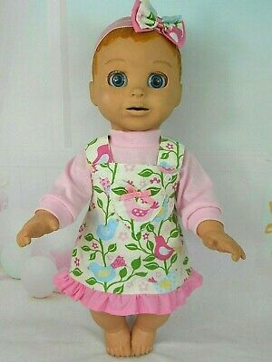 """Dolls clothes for 18"""" LUVABELLA DOLL~SINGING BIRDS FLORAL PINAFORE~TOP~HAIR BOW"""