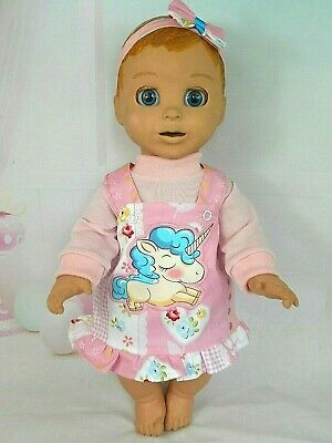 """Dolls clothes for 18"""" LUVABELLA DOLL~BIG UNICORN FLORAL PINAFORE~TOP~HAIR BOW"""