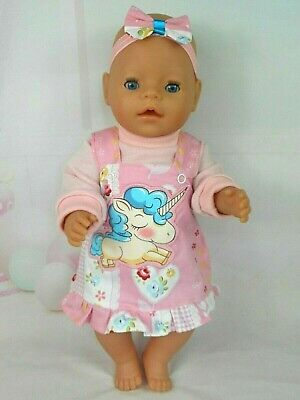 """Dolls clothes for 17"""" BABY BORN~CPK DOLL~BIG UNICORN FLORAL PINAFORE~TOP~H""""BOW"""