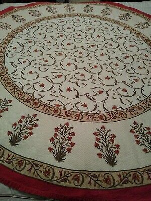 """Vintage 60"""" round tablecloth that feels like Cotton/Poly"""