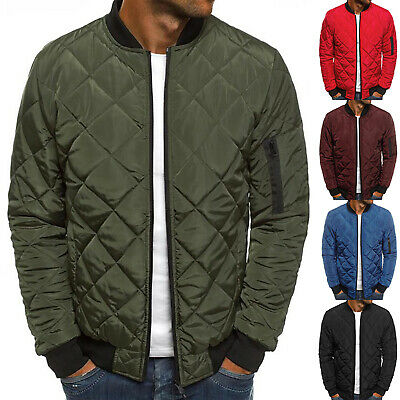 Men's Quilted Padded Puffer Jacket Casual Zipper Winter Warm Coat Bomber Outwear