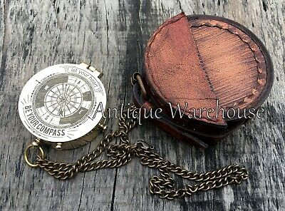 Nautical Brass Compass With Leather Case Marine Brass Pocket Compass Lover Gift