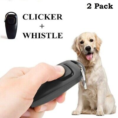 2in1 Dog Pet Training Clicker With Whistle Trainer Obedience Black Big Button x2