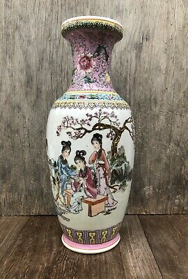 20th Century Chinese Porcelain Hand Painted Calligraphy Vase  - Marked Signed