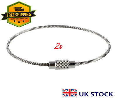 2x Stainless Steel Screw Locking Wire Keychain Cable Keyring Key Holder