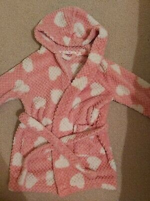 Girls ROBE Dressing gown age 2 LOVE HEART pink white cosy fluffy