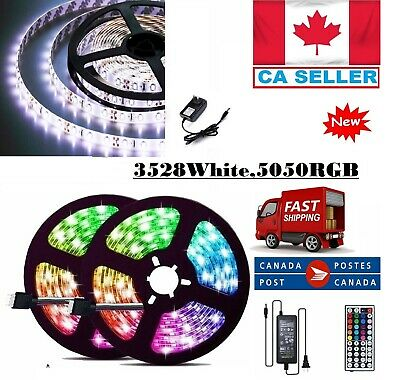 5M 300/600 LED Strip Light SMD 3528 5050 RGB/White Flexible+Remote+Power Supply