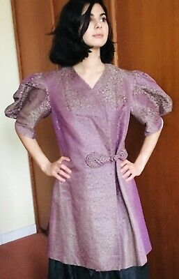 1920's Chinese silk purple and silver embroidered Jacket made in Shanghai