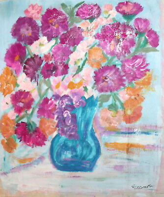 Impressionist Floral Still Life  Oil Painting Signed