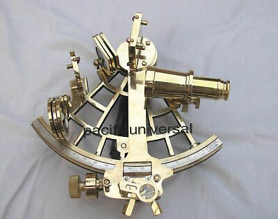 Vintage Heavy Brass Nautical Sextant Us Navy Reproduction Working Instrument .