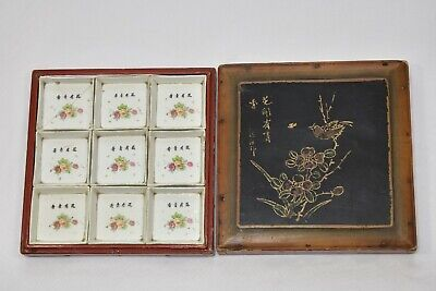 Set of 9 Antique Chinese Porcelain Dish / Plate In Wooden Box