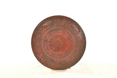 Antique Chinese Red Wooden Carved Candy Box w cover