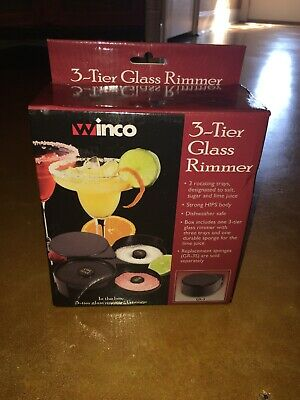Winco GR-3, Three-Tier Glass Rimmer - Lime Juice, Sugar, And Salt Compartments.
