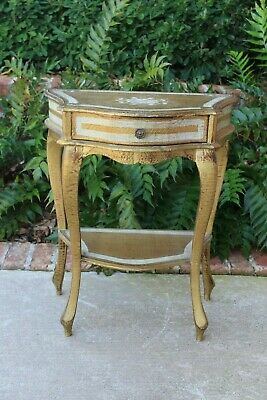 Petite Antique Italian Gilt Florentine Side Table Nightstand End Table Drawer #1
