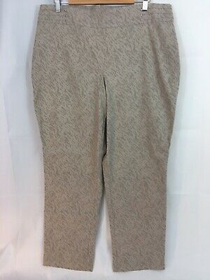 JM Collection Women's XL Stretch Comfort Waistband Ankle Pants Beige Taupe