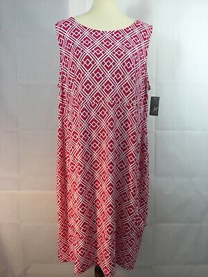 JM Collection Women's Dress 2X Pull-on Dress Pink White Stretch Knit