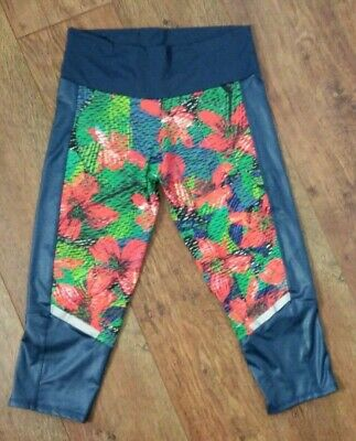 Adidas size M blue grey floral exercise leggings gym fitness cropped stretch