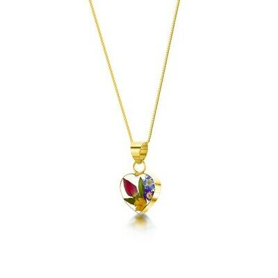 23K Gold Plated Necklace Handmade Real Rose Forget Me Not Flowers Heart Gift
