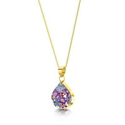 23K GOLD PLATED NECKLACE HANDMADE WITH REAL FLOWERS IN RESIN PURPLE HAZE gift