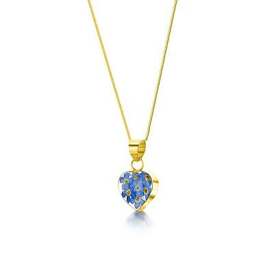 23K GOLD PLATED NECKLACE HANDMADE WITH REAL FORGET ME NOT FLOWERS IN RESIN gift