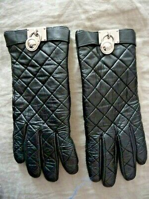 Michael Kors Gloves L Genuine Black Leather Quilted Top Silver Hanging Logos