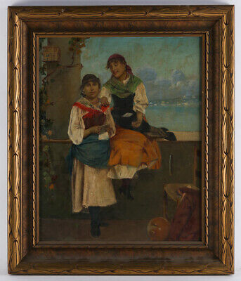 """Early 20th Century Italian Impressionist Oil painting """"Two Girls"""""""