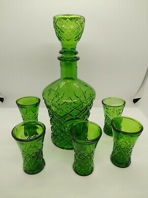 Emerald Green Decanter With 5 Shot Glasses