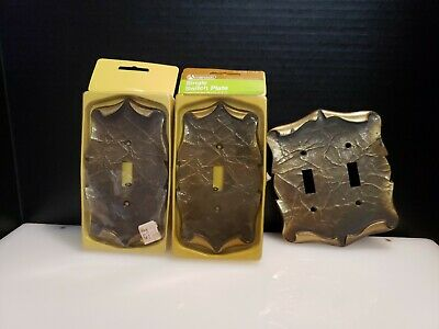 3 Amerock Carriage House Light Switch Plate Covers Vintage Brass Antique scroll