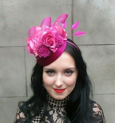 Fuchsia Cerise Hot Pink Rose Flower Feather Headpiece Hat Fascinator Floral 8095