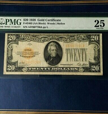 1928 $20 Gold Certificate Legal Tender  Woods/Mellon Pmg 25 Very Fine