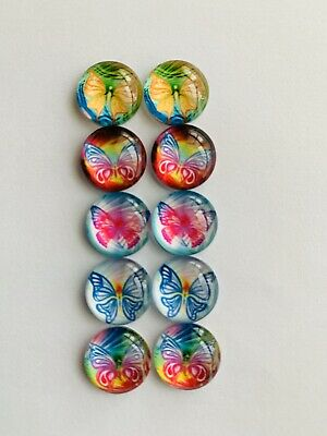 5 Pairs Of 12mm Glass Cabochons #837
