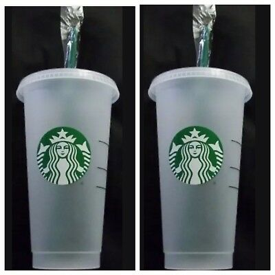 2 Starbucks Reusable Cups Venti 24 oz Frosted Ice Cold Drink W/Lids & Straws NEW