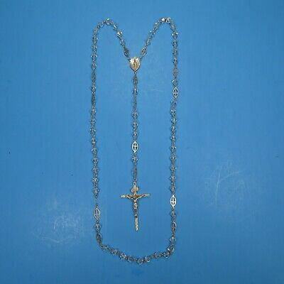 Vintage Silver Crystal Rosary Beautiful Catholic Crucifix