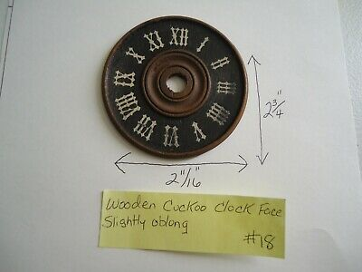 "Vintage German Wooden Cuckoo Clock Dial Face 2-3/4"" Diameter #18"