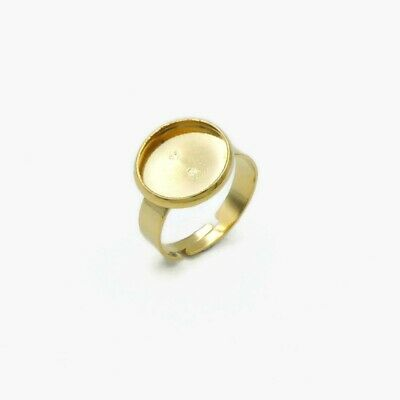 5 x Gold Tone Stainless Steel 12mm Cabochon Ring Settings