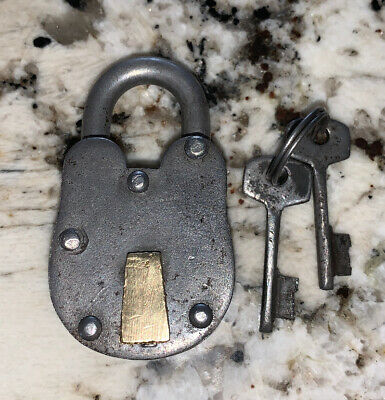 Antique Iron And Brass Pad Lock With Keys, Works Beautifully!!!