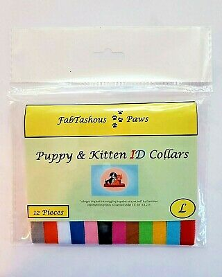 12 PCS Puppy Whelping Collars ID Bands Litter Dog Kitten Set