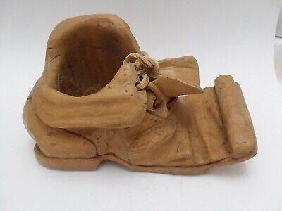 Wooden Shoe Planter Hand Carved and Signed Vintage Folk Art With Laces