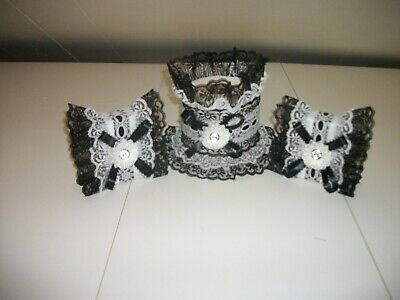 3Pc Black And White Decorated Soap And Tissue Cover Sets