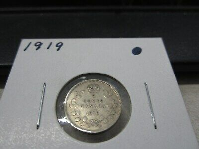 1919 - Canada - silver 5 cent coin - Canadian nickel - circulated