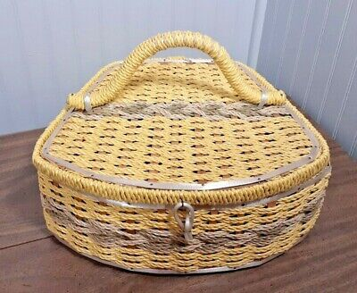 Vintage Sewing Wicker Basket Yellow Grey Wooden w/ Yellow Satin Inset Japan 3147