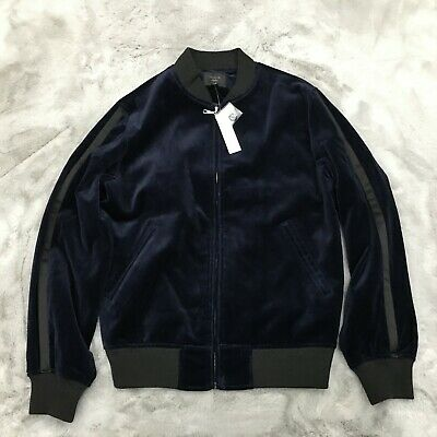 New J. Crew Ludlow Casual Full Zip Velour Jacket Mens Size Small Navy Blue K2333