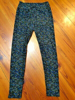 Woman LuLaRoe Pants Leggings,One Size,Polyester/Spandex,Blue/Black