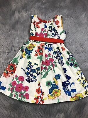 Mini Boden Toddler Girls 3-4 Ivory Multicolored Floral Sleeveless Pleated Dress
