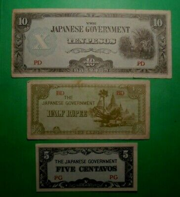 3X Ww2 Japanese Invasion Banknotes One Has A Tear.