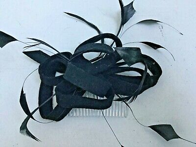 Fascinator Comb By Accessorize Black Velvet And Feather H505