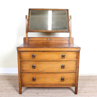 Antique Arts & Crafts Oak Dressing Table Chest Of Drawers Country Bedroom