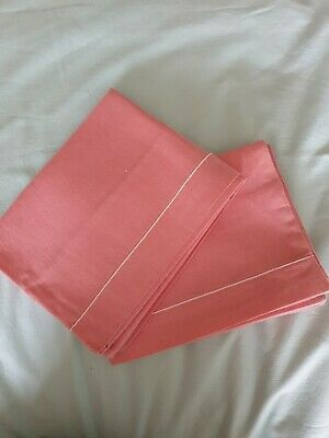 PINK vintage cotton pillowcases with white stitched trim x 2