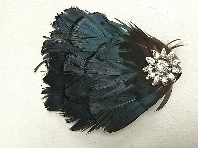 Fascinator / Brooch By Accessorize - Green Black Peacock Feather Bn. H507
